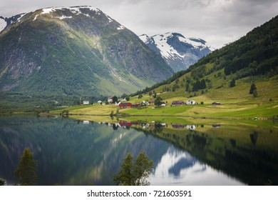 View over the lake Dalavatnet nearby Svedalsfossen