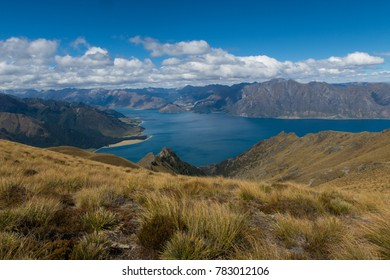 View over Lake Hawea in New Zealand