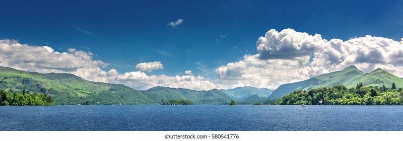 View over the lake at Keswick in north England with mountains in the background.