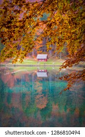 View over lake Laghi di Fusine near Tarvisio in Italy on a sunny morning with a little bit fog in autumn to a small hut