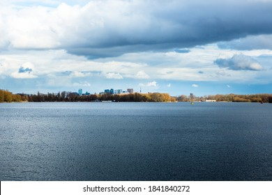 View over lake the Nieuwe Meer to the the Zuidas, a rapidly developing business district in the South of Amsterdam, the Netherlands. - Shutterstock ID 1841840272