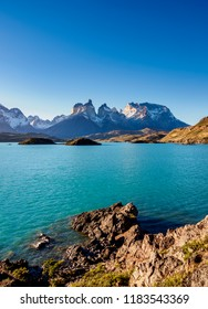 View over Lake Pehoe towards Cuernos del Paine, Torres del Paine National Park, Patagonia, Chile