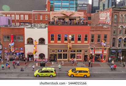 View over the live music pubs and Rooftop Bars in Nashville - NASHVILLE, TENNESSEE - JUNE 15, 2019