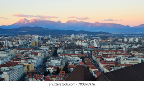 View Over Ljubljana at Sunset - January 2017 - Ljubljana, Slovenia