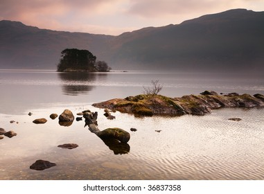 View over Loch Lomond to an island