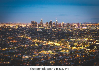 View over Los Angeles city from Griffith hills in the evening, California, USA