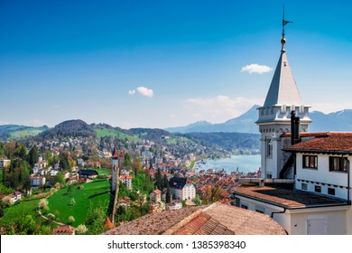 View over Lucerne  with Museggmauer from castle Guetsch.
