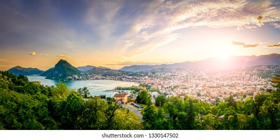 View over Lugano in Ticino, Switzerland