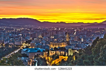 View over Malaga at night Andalusia Spain, HDR image