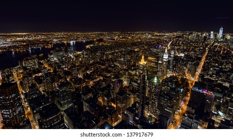 View over Manhattan & East River from Empire State Building at night