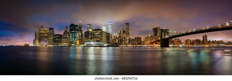 View over Manhattan skyline during sunset.