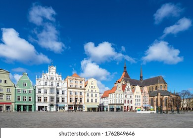 View over the market square Neuer Markt in Rostock, Germany.