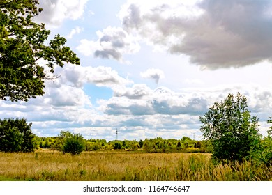 View over meadows and fields to a forest edge under a blue sky with dramatic looking clouds