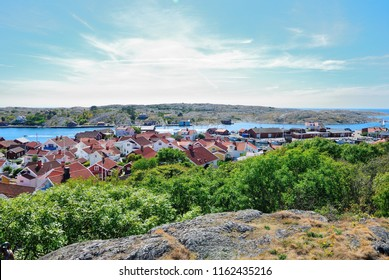 View over Mollösund (Mollosund) fishing village situated on the Orust Island of Bohuslän (Bohuslan) Archipelago in Sweden