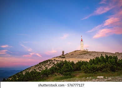 View over the Mont Ventoux during beautiful sunset in summer
