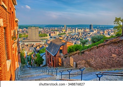 View over montagne de beuren stairway with red brick houses in Liege, Belgium, Benelux, HDR