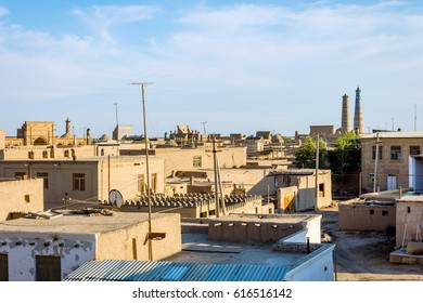 View over mud houses and streets in Khiva old town, Uzbekistan
