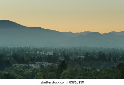 View over Napa Valley during sunset