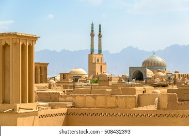 View over the Old City of Yazd, Iran - famous for its wind towers
