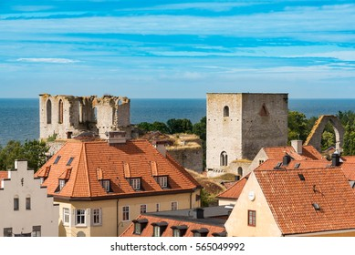View over the old town of Visby on the island of Gotland, Sweden with church ruins.