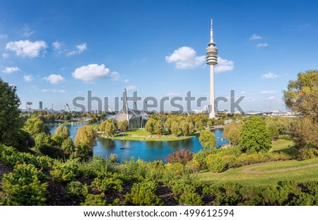View over Olympiapark with tower at Munich, Bavaria, Germany