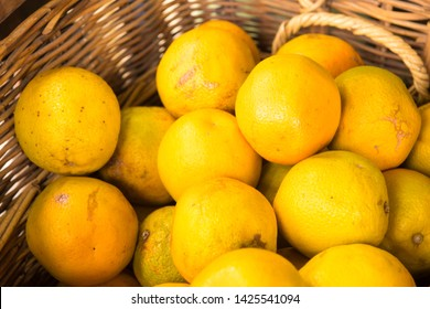 View over oranges in handmade wicker basket