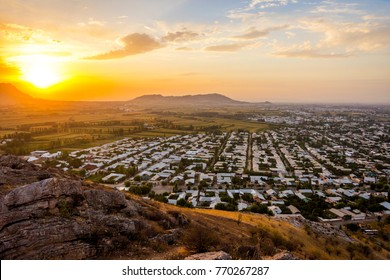 View over Osh town in sunset time, Kyrgyzstan