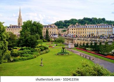 View over a park in Bath, England