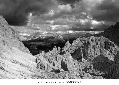View over Passo Gardena in the Dolomiti from Crespeine pass - black and white