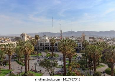 view over plaza de armas in arequipa, peru