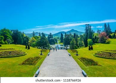 View over Powerscourt gardens towards Sugarloaf mountain in Ireland