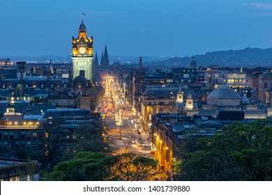 View Over Princess Street and the City of Edinburgh in Scotland from Carlton Hill