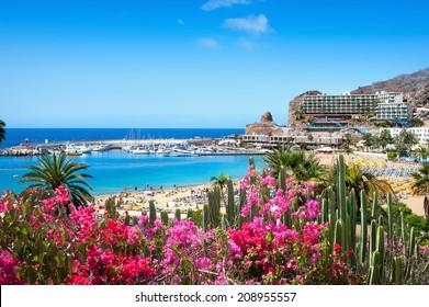 View over Puerto Rico's beach. Gran Canaria, Spain
