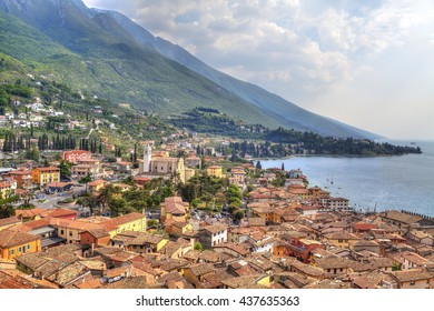 view over the red roofs of Malcesine at the east bank of the Lake Garda in Italy
