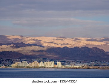 View over Red Sea towards Eilat in Israel, Aqaba, Aqaba Governorate, Jordan