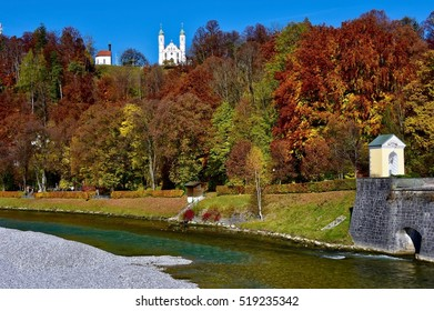 View over the River Isar to the Kreuzkirche on the Kalvarienberg in Bad Toelz, Germany