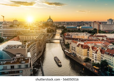view over river on Berlin skyline with Berlin Cathedral