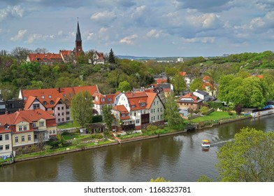View over river Saale and parts of Halle an der Saale, Saxony. Germany