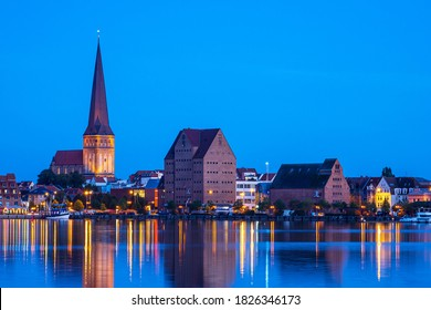View over the river Warnow to the city Rostock, Germany.