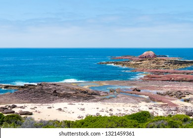 View over the rocky coastline at Heycock Point, known for whale watching, scenic coastal views and and birdwatching, in Ben Boyd National Park, Australia