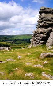 A view over rolling Dartmoor countryside from Hound Tor, Devon, UK