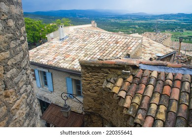 View over roofs from Gordes to the country, Provence, France