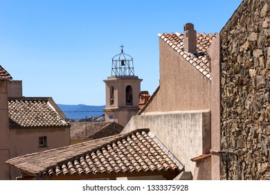 View over the roofs of Sainte Maxime, French Riviera coast at the Mediterranean Sea.