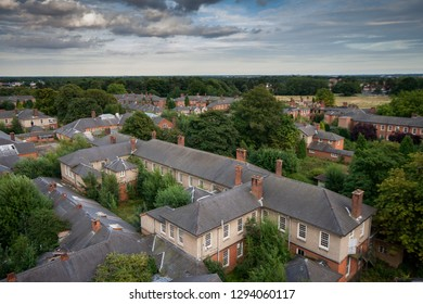 View over the rooftops at a derelict lunatic asylum, Severalls, Colchester, Essex, England, UK