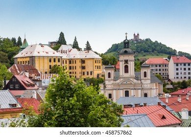 View over rooftops of the historic city Banska Stiavnica, Slovakia