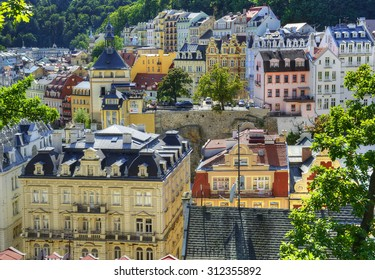 View over the rooftops of the old city Carlsbad. Spa Karlovy Vary, Czech Republic