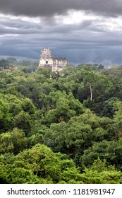 A view over the ruined Mayan city of Tikal in modern day Guatemala