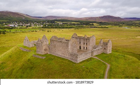 View over the Ruthven Barracks near Ruthven in Badenoch in Scotland