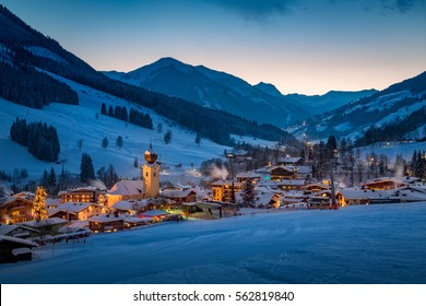 View over Saalbach mountain village at night, Salzburg, Austria