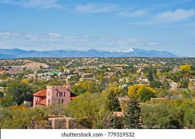 View over Santa Fe New Mexico towards the Jemez Mountains